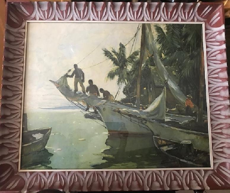 Signed Print Carribean Ship - 3