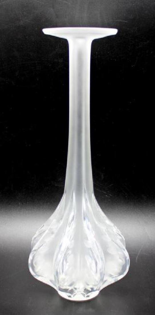 "Lalique Signed Crystal ""Claude"" Crystal Vase 13 1/4"""