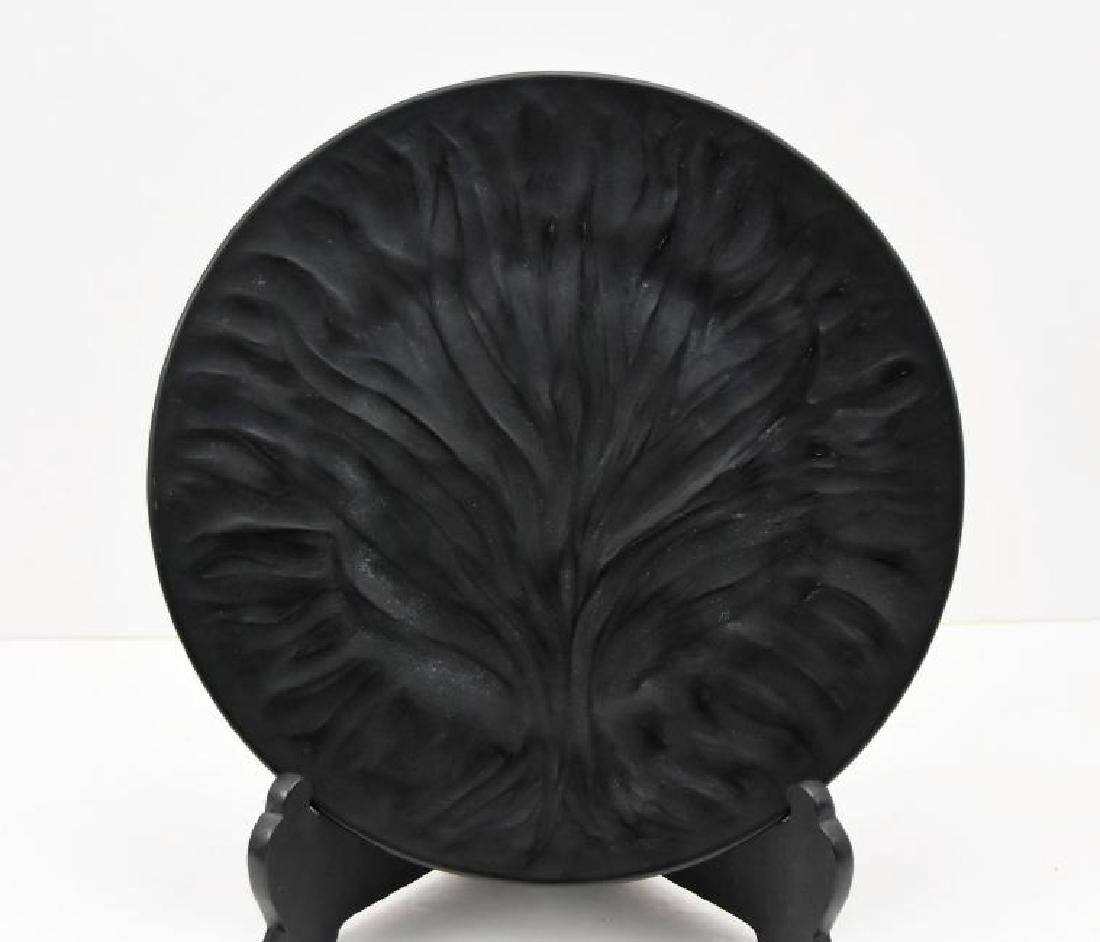 """Lalique Signed Crystal """"Agues Black"""" Dish"""