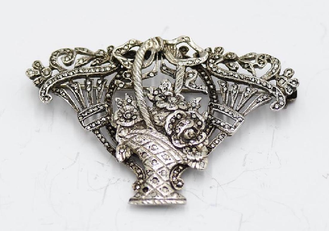 Vintage Sterling Silver, Marcasite Brooch Vintage
