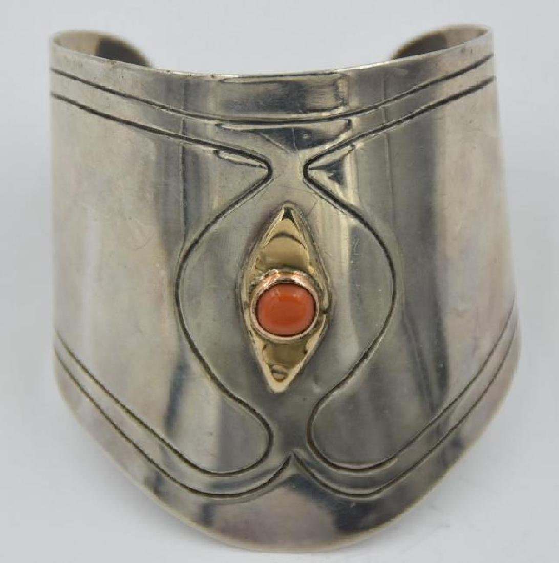 925 Silver with Coral Cuff Bracelet