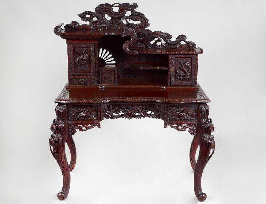 Chinese Export carved wood writing table