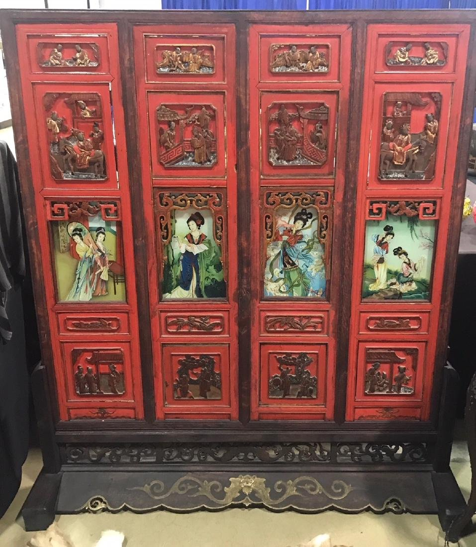 Chinese Antique Screen Reverse Painted Glass