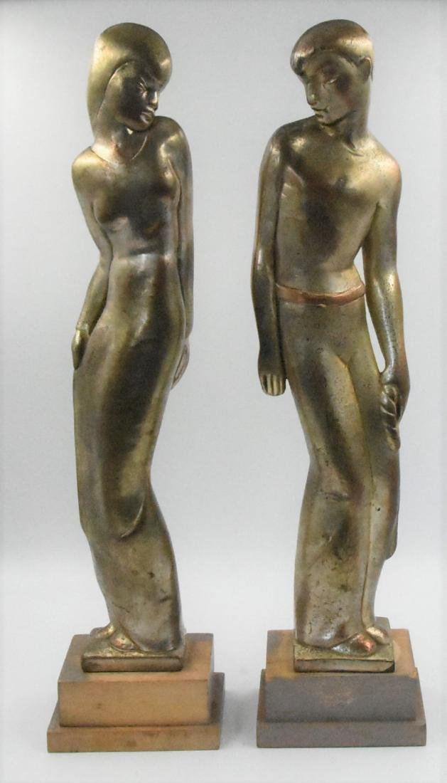 Sculptures of a man and a woman (Pair)
