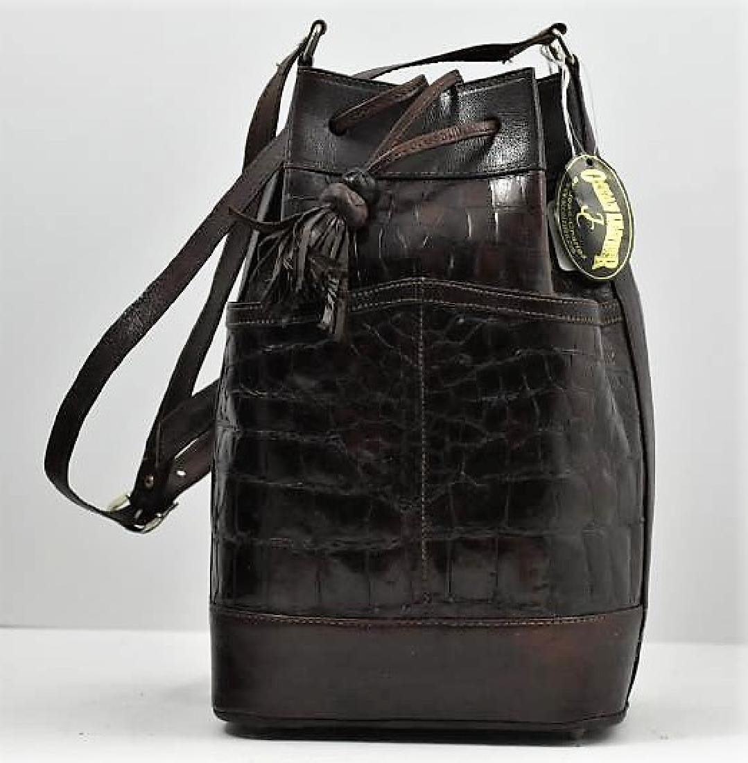 Crocodile drawstring handbag