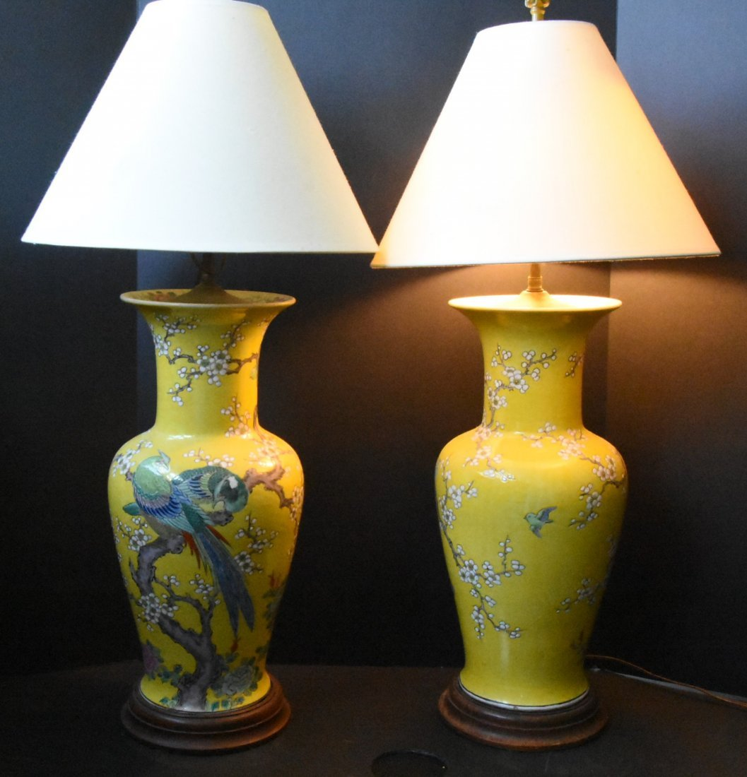 Yellow Large Chinese Urn Lights