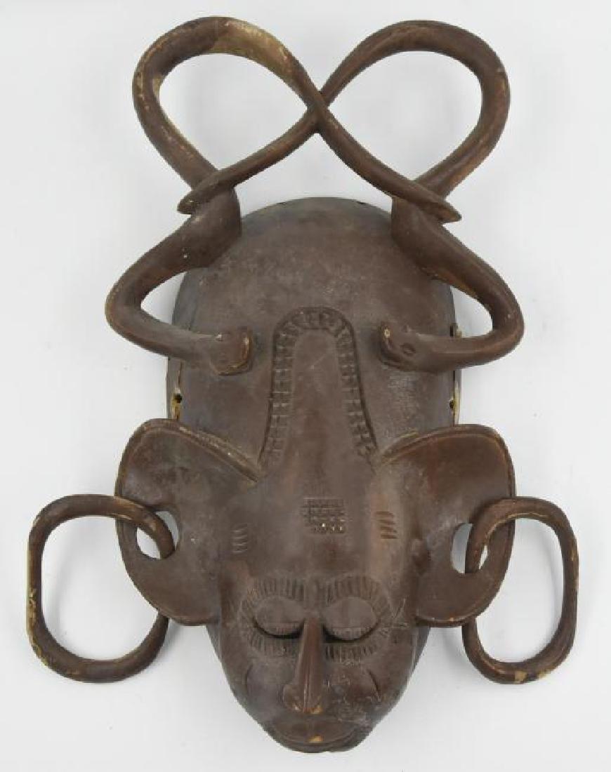 Vintage African Mask Carved Wood 1800s
