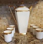 Antique Limoges France porcelain Chocolate Pot set