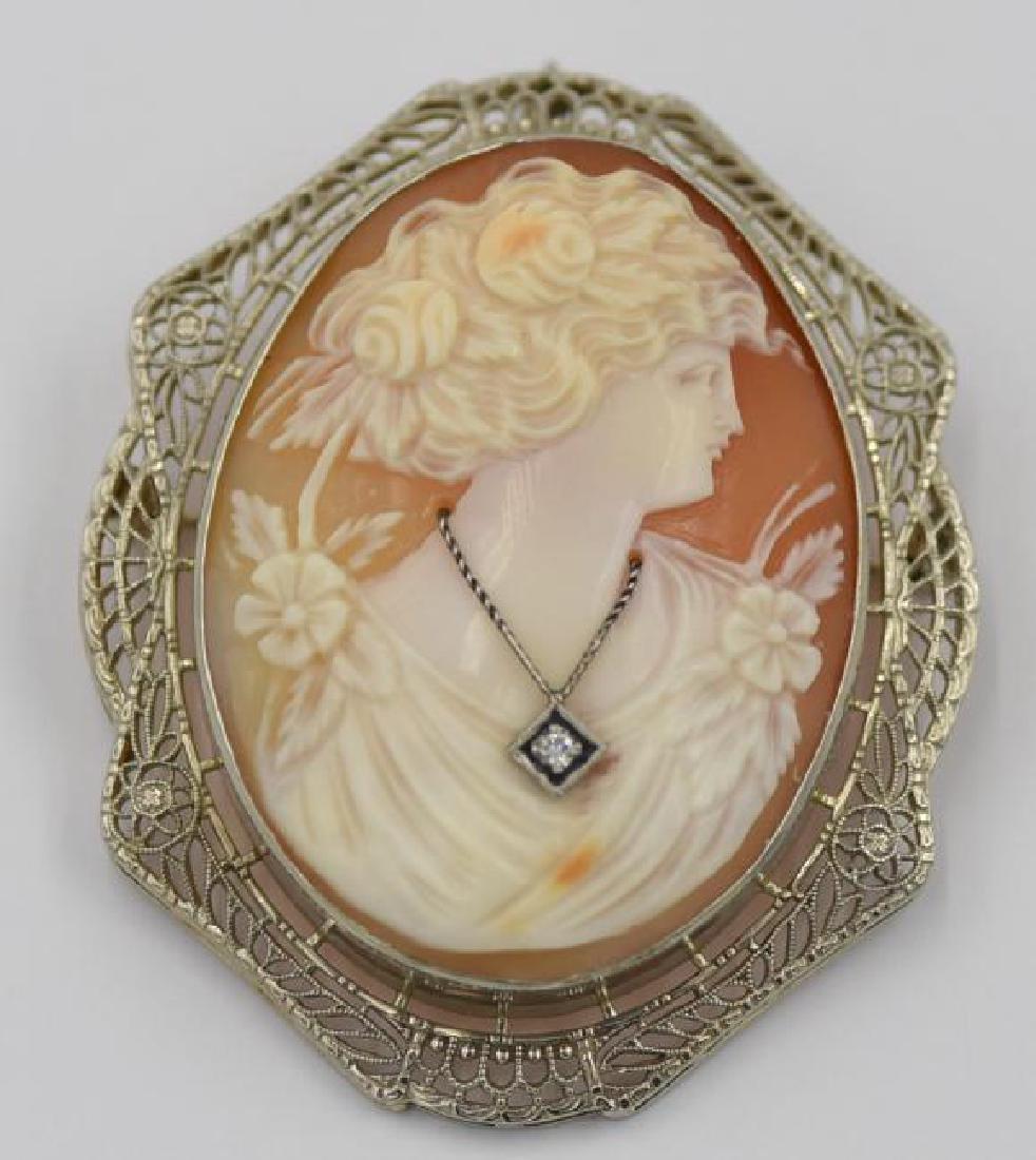 Vintage Silver Adorned Cameo Brooch/Pendant