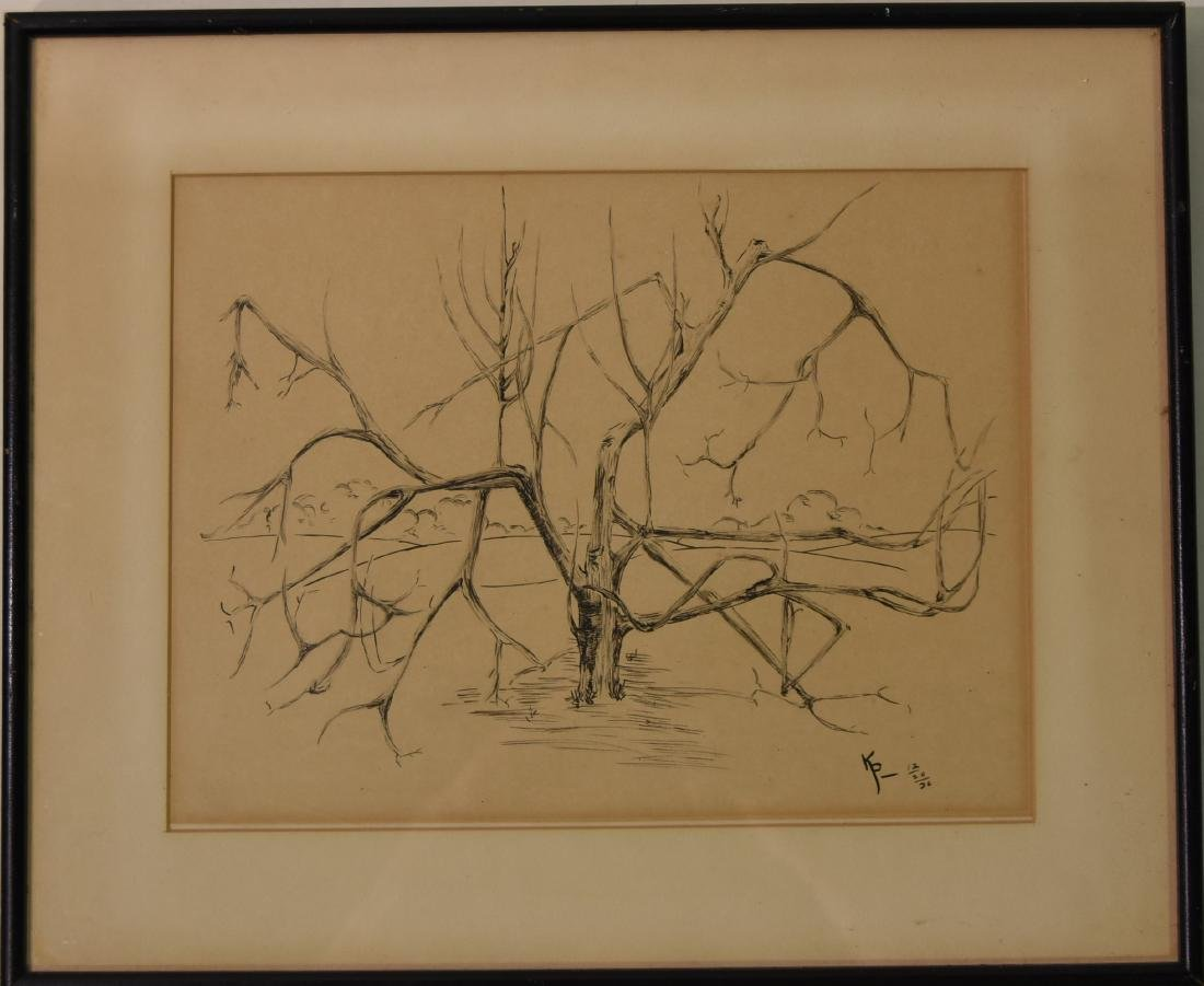 Japanese lithograph Tree Signed