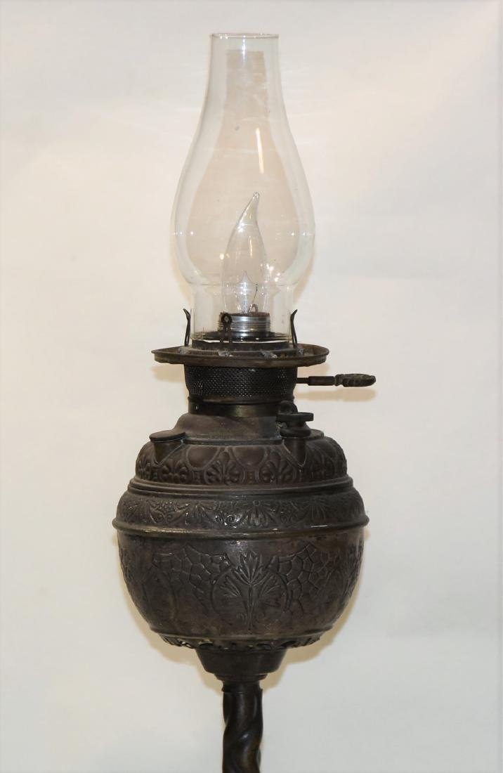 Antique Kerosene Lamp Victorian pewter converted to - 2