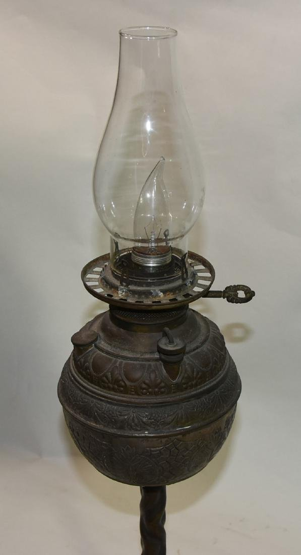 Antique Kerosene Lamp Victorian pewter converted to - 4