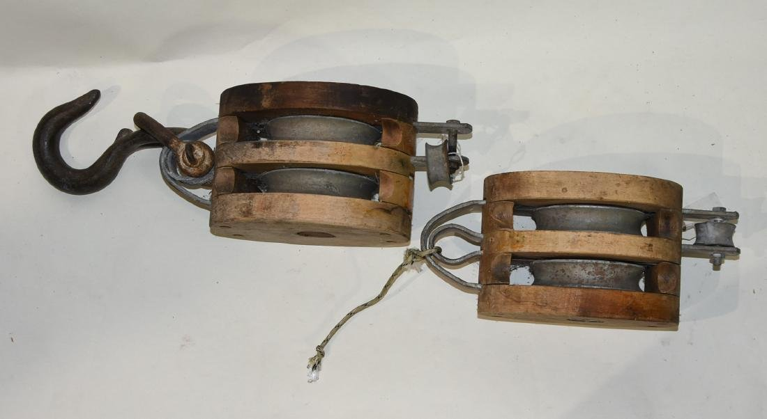 2 Antique wood pulleys Nautical