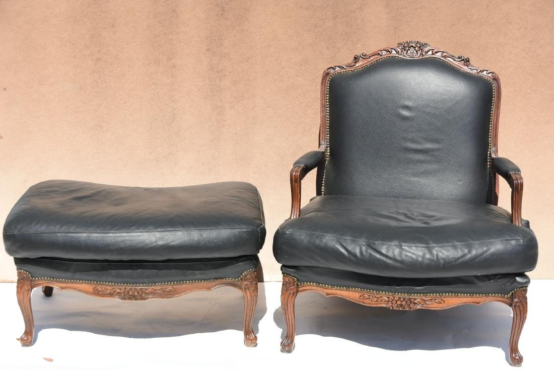 Blacked Designer Chair with Matching Ottoman