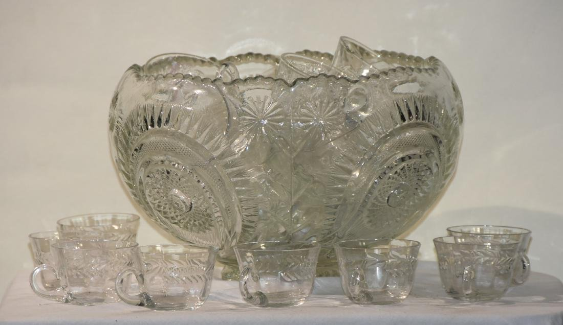 Cut Glass Punch Bowl with Cups 1960s
