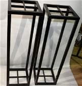 2 Black pedestals MidCentury