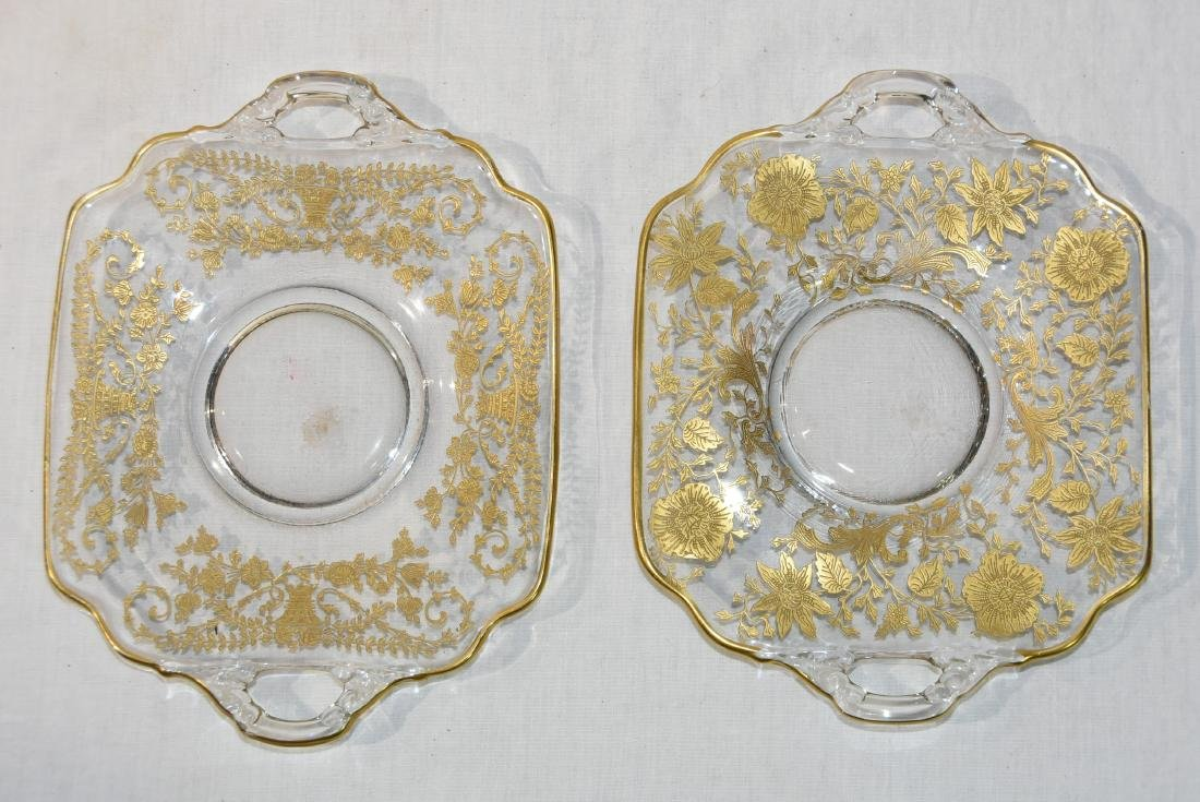 2 Cambridge Elegant glass Gold Overlay Sq Serving