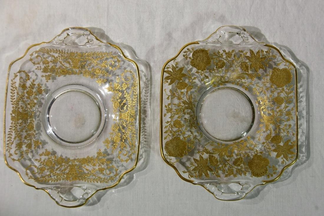 2 Cambridge Elegant glass Gold Overlay Sq Serving - 2