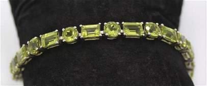 Vintage 925 Silver with Peridot Bracelet