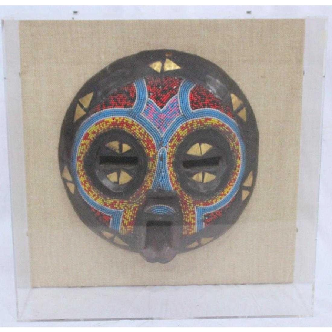 African Tribal Beaded & Wooden Masks Fitted Plexiglass