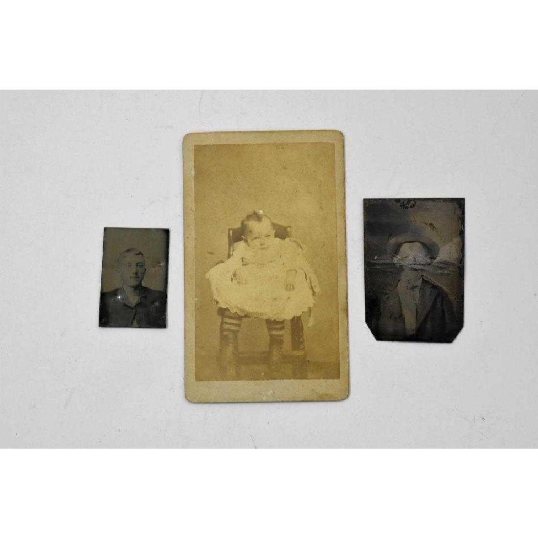 2 tintype small photos and one cabinet photo