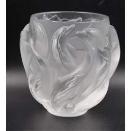 """Lalique French """"Dolphin Vase Oceania Model# 12508"""""""