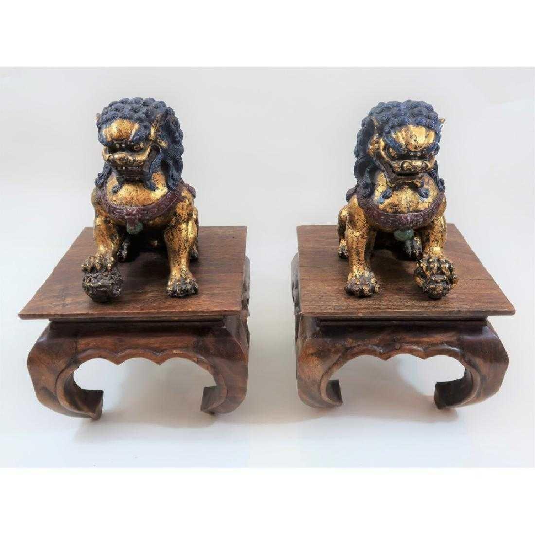 Pair of iron foo dogs 1800s