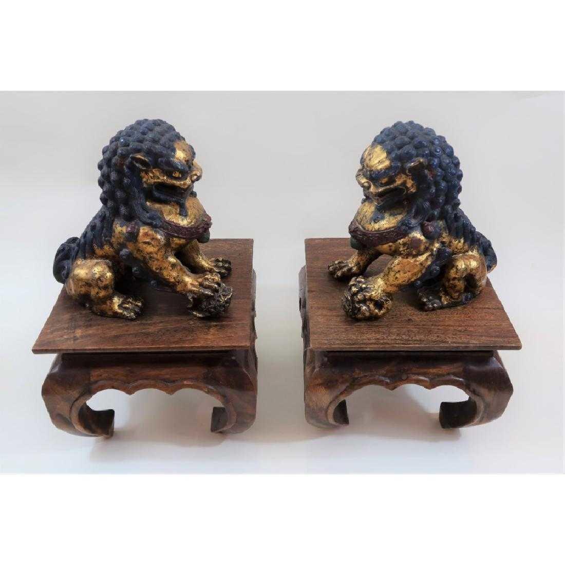 Pair of iron foo dogs 1800s - 2