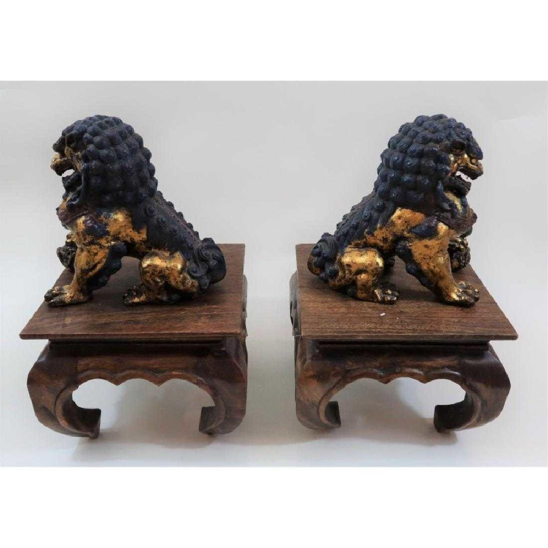 Pair of iron foo dogs 1800s - 3