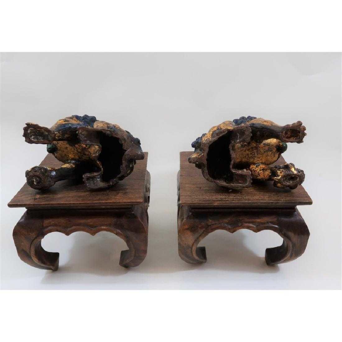 Pair of iron foo dogs 1800s - 4