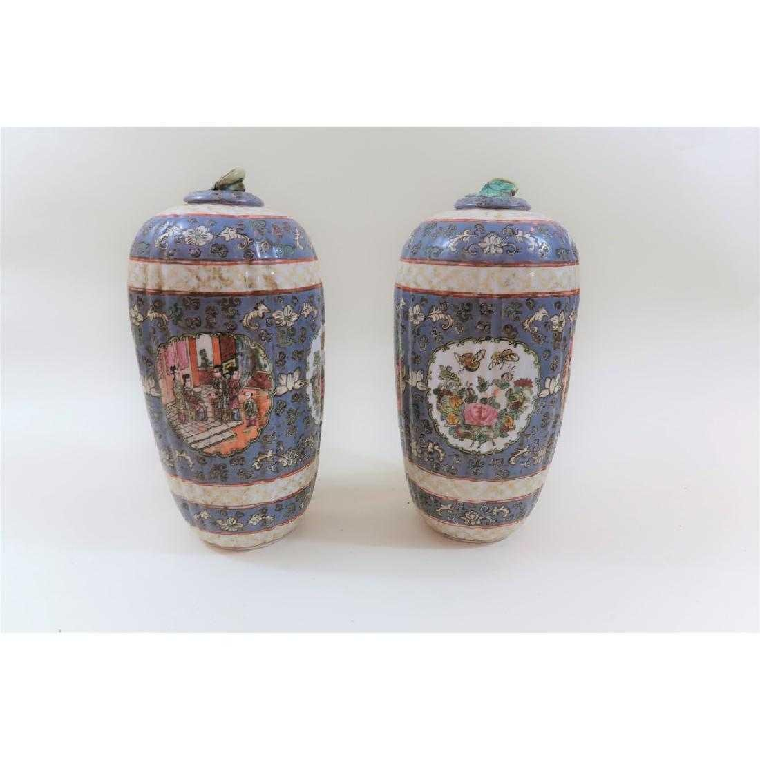 Pair Chinese Qianlong period vintage urns - 2