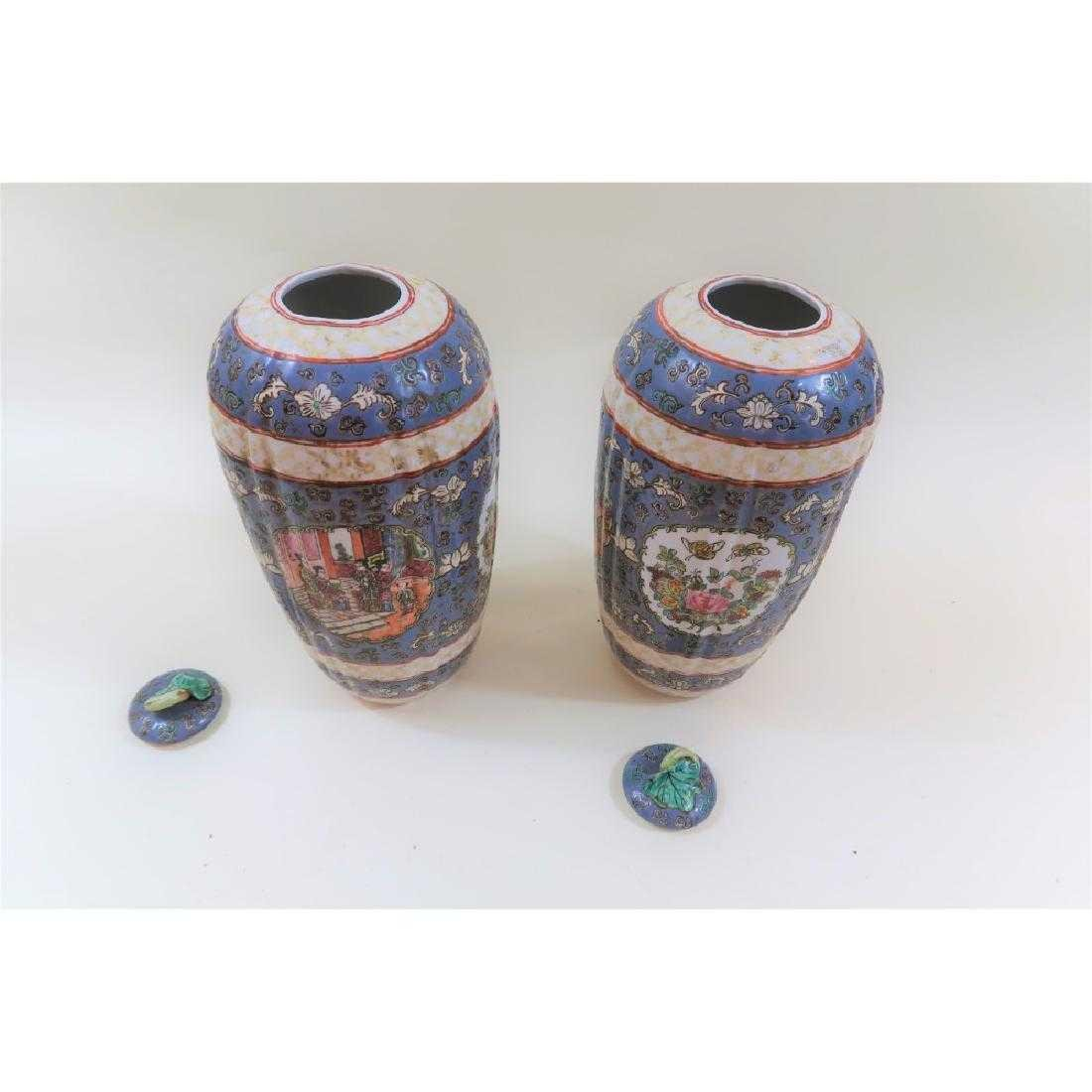 Pair Chinese Qianlong period vintage urns - 4