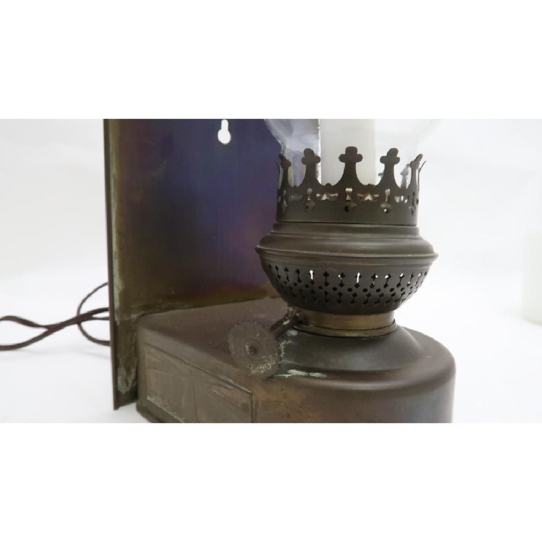 Old Brass Lantern - Electrified - Glass shade is wavy - 2