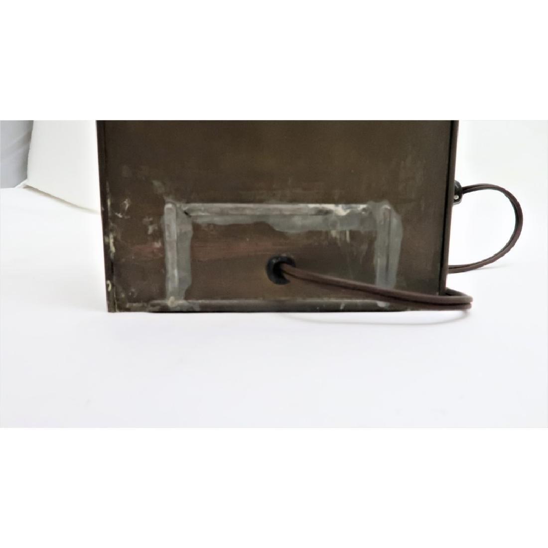 Old Brass Lantern - Electrified - Glass shade is wavy - 5