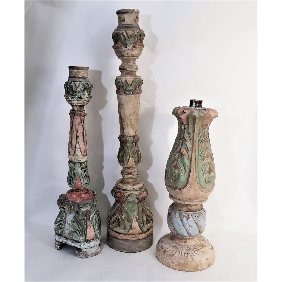 3 giant candlesticks decorative