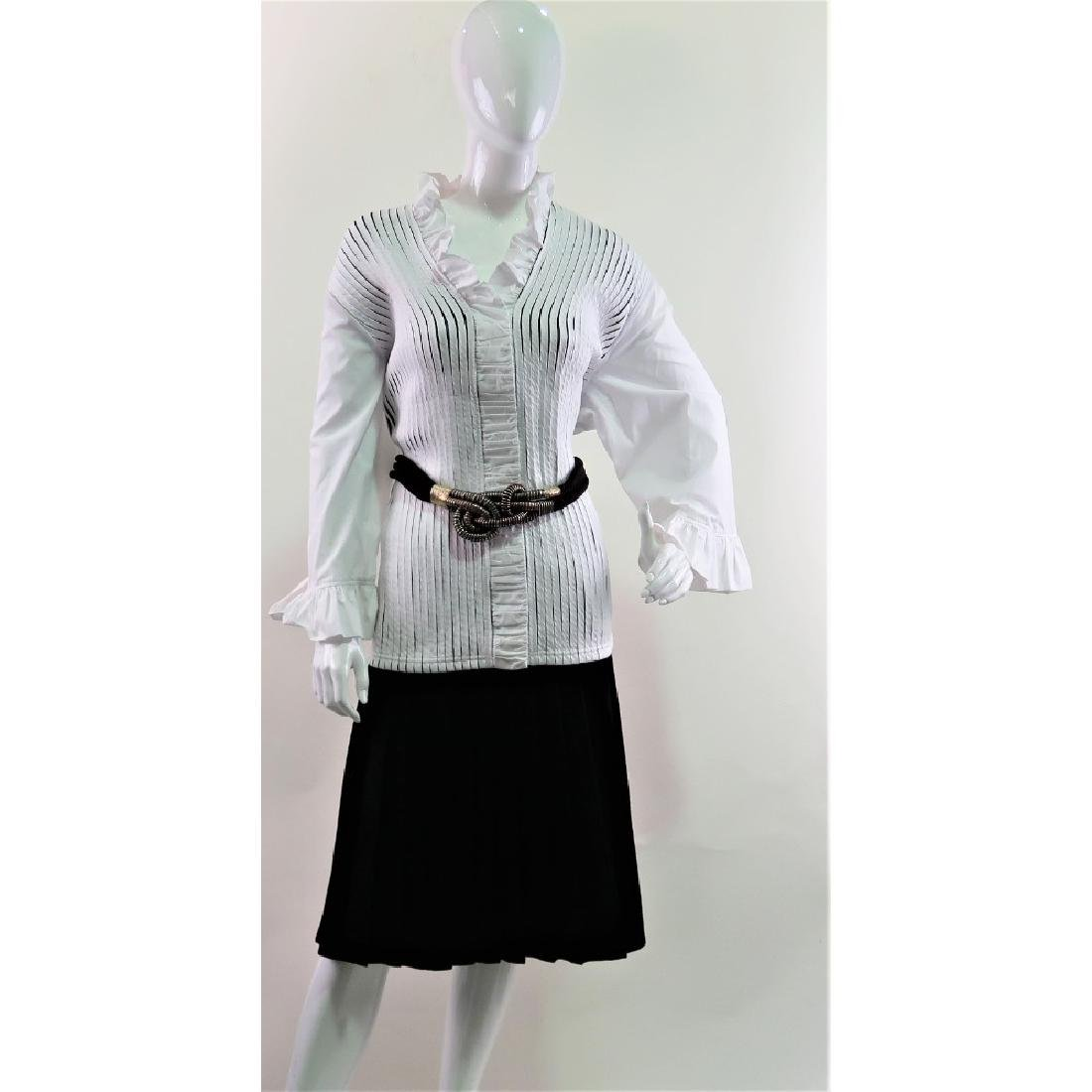 Lesley Gore's White Ruffle Ravel button up Blouse.
