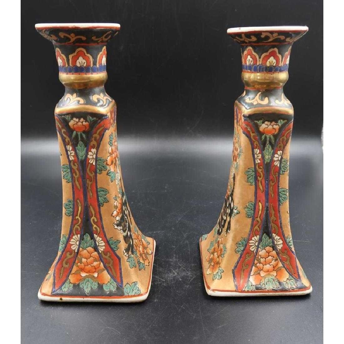 Pair 1860s import medallion candle sticks - 2