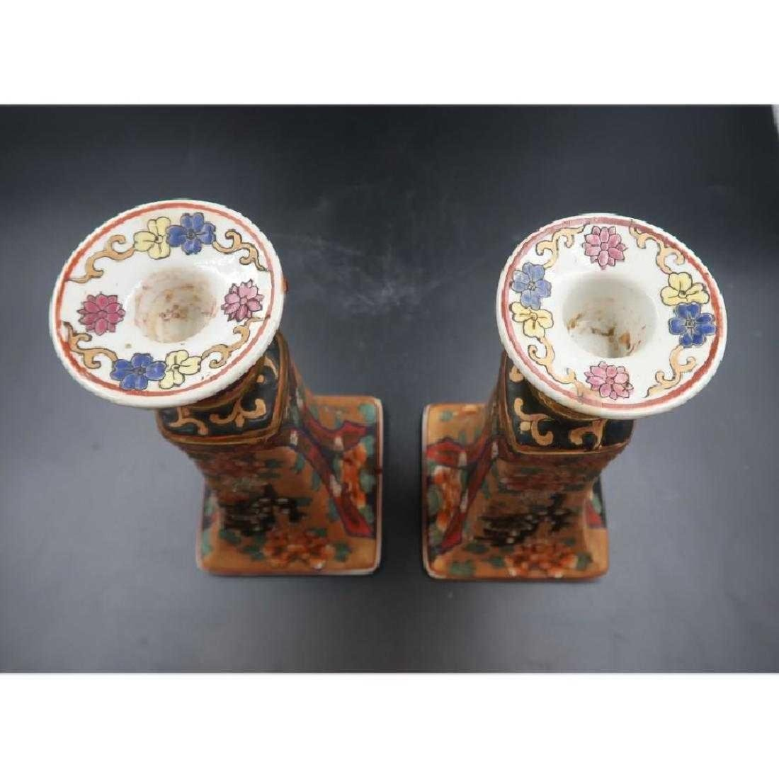 Pair 1860s import medallion candle sticks - 4