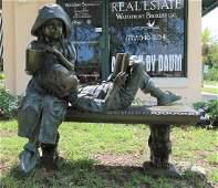 European Girl & Boy on a Bench Lifesize Figural Bronze