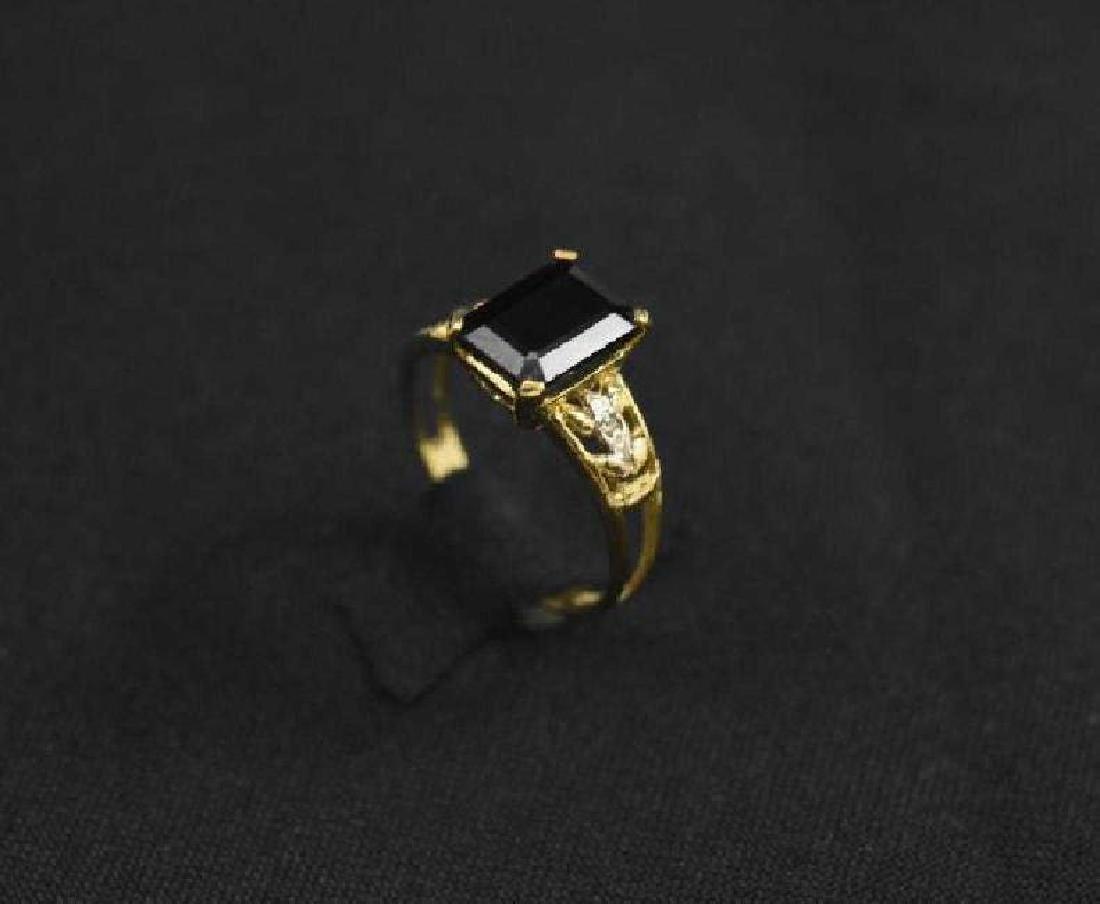 10K Yellow Gold Ring & Black Sapphire