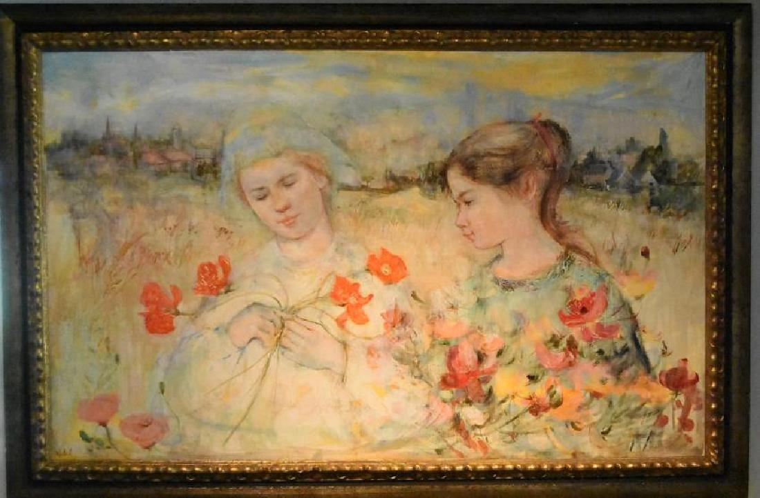 """Edna Hibel (1917-2014) """"Two French Flower Girls"""" Oil On"""