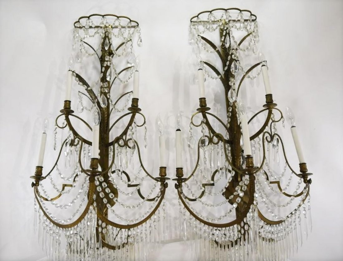 Pair of French Louis XV Style Dark Bronze Crystal