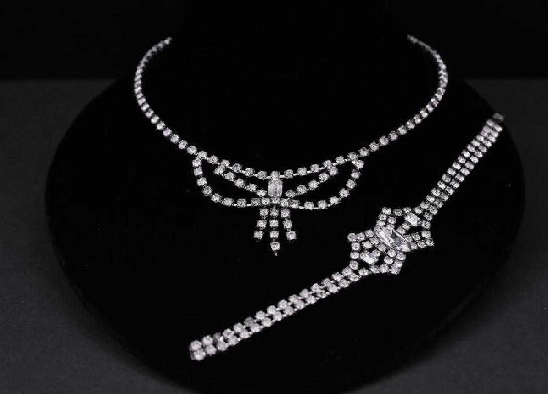 Vintage Set Necklace and Bracelet Rhinestones