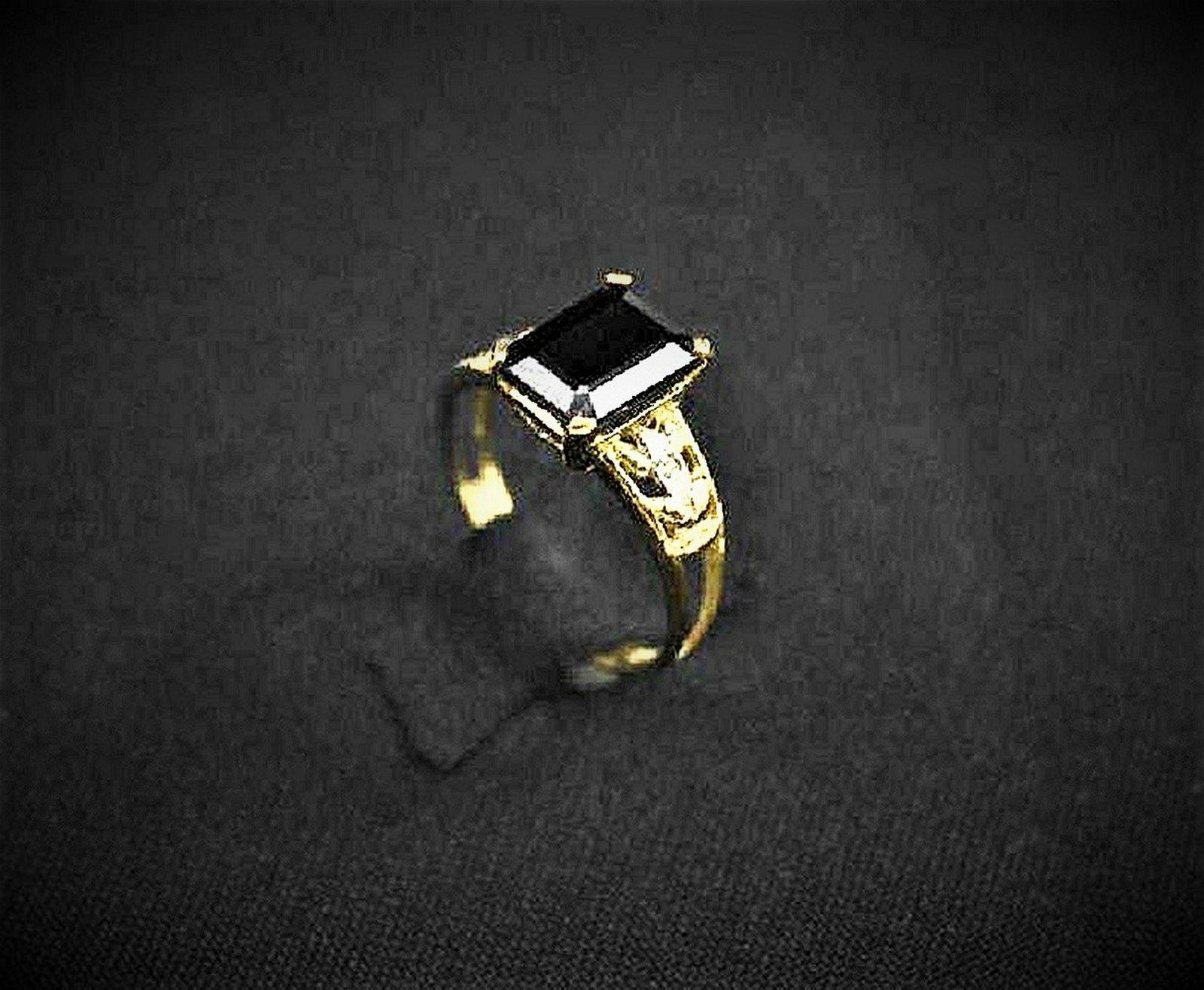 Black Sapphire 14k Yellow Gold Ring