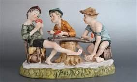 """Vintage German Porcelain """"The Card Cheats"""""""