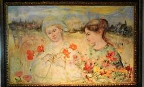 Edna Hibel (1917-2014) Oil On Canvas Museum Quality