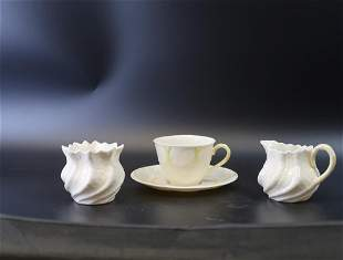 Belleek Tea Cup and Suacer/ Creamer and Sugar