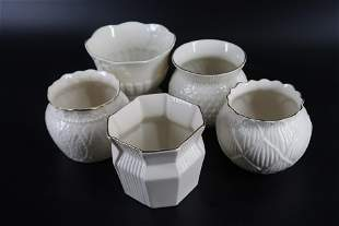Belleek Collectors Society Short vases with Gold trim