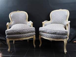 Pair Well Carved Louis XV Beach wood Fauteuils French
