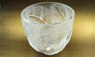Lalique of France Crystal Vase Rare Fish scare Center